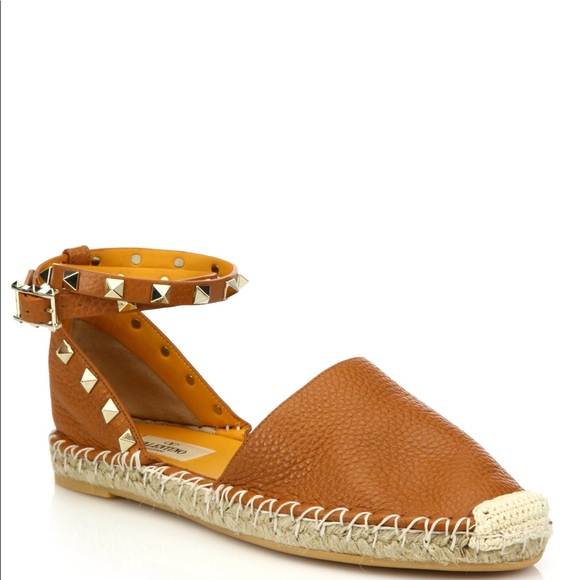 d72773f5328b7 Valentino Shoes   Rockstud Espadrilles Sandal Cognac Sz 37   Poshmark